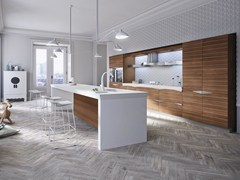 - Walnut fitted kitchen with island TIME | Kitchen with island - Snaidero
