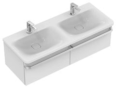 - Inset double rectangular ceramic washbasin TONIC II 120 cm - K0870 - Ideal Standard Italia