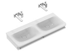 - Inset double rectangular ceramic washbasin TONIC II 120 cm - K0871 - Ideal Standard Italia