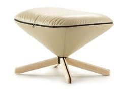 - Leather footstool with 4-spoke base TORTUGA | Leather footstool - SANCAL