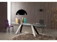 - Extending glass and aluminium table TRANSPARENCE | Extending table - ITALY DREAM DESIGN - Kallisté