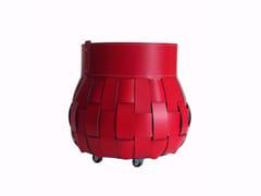 Contenitore / portalegna in cuoio rigeneratoTRECCIO - LIMAC DESIGN FIRESTYLE BY AS.TRA