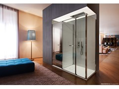 - Corner shower cabin with storage container TWIN T12 - VISMARAVETRO
