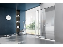 - Corner shower cabin with storage container TWIN T22 - VISMARAVETRO
