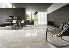 - Indoor/outdoor porcelain stoneware wall/floor tiles with marble effect ULTRA ONICI │ GRIGIO - ARIOSTEA