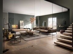- Sliding tempered glass partition wall VISIO - FERREROLEGNO