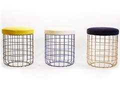 - Powder coated steel stool WIRE | Low stool - Dare Studio