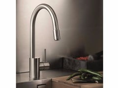 - Stainless steel kitchen mixer tap with pull out spray X-MIX | Stainless steel kitchen mixer tap - NEWFORM