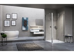 - Corner shower cabin with hinged door YOUNG 2.0 1B+F1B - NOVELLINI