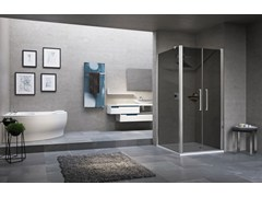 - Corner shower cabin with hinged door YOUNG 2.0 2B+F2B - NOVELLINI