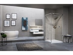 - Corner shower cabin with folding door YOUNG 2.0 2GS+FG - NOVELLINI