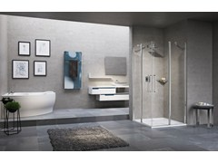 - Corner shower cabin with hinged door YOUNG 2.0 A - NOVELLINI