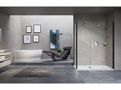 - Rectangular shower cabin with hinged door YOUNG 2.0 G+F IN LINE +F1B - NOVELLINI