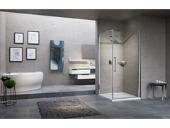 - Corner shower cabin with hinged door YOUNG 2.0 G+FG - NOVELLINI