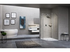 - Semicircular shower cabin with hinged door YOUNG 2.0 R1 - NOVELLINI