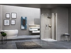 - Semicircular shower cabin with hinged door YOUNG 2.0 R2 - NOVELLINI