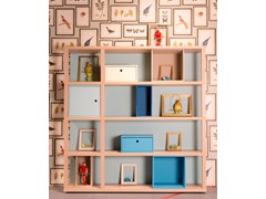 - Sectional lacquered wooden bookcase with drawers YOUNG | Modular bookcase - dearkids