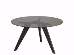 - Round wood and glass table AGO - AG2 | Wood and glass table - Alias
