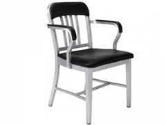 - Aluminium chair with armrests NAVY® UPHOLSTERED | Aluminium chair - Emeco