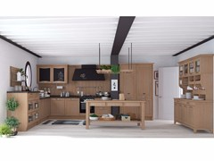 - Solid wood fitted kitchen with handles AUREA NEW FOLK - CREO Kitchens by Lube