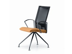 - Trestle-based mesh reception chair with armrests AVIANET 3649 - TALIN