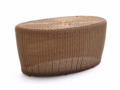 - Oval wicker garden side table BOLERO | Oval coffee table - Varaschin