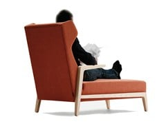 - Fabric armchair with headrest BOOMERANG CHILL | Armchair with footstool - SANCAL