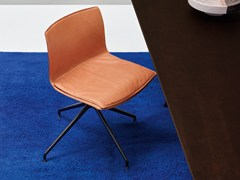 - Trestle-based leather chair CATIFA 53 - NEW EDITION | Leather chair - Arper