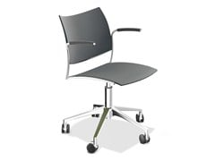 - Chair with 5-spoke base with armrests CELLO | Chair with 5-spoke base - Casala