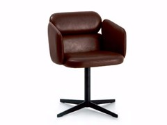 - Swivel leather chair with 4-spoke base with armrests BLISS | Chair with 4-spoke base - arflex