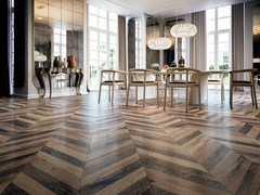 - Porcelain stoneware flooring with wood effect CHEVRON - Ceramiche Refin