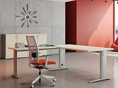 - L-shaped melamine-faced chipboard workstation desk COMPACT | L-shaped office desk - Arcadia Componibili - Gruppo Penta