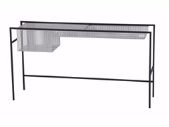 - Rectangular glass and steel console table AGRAFE | Console table - ROCHE BOBOIS