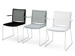 - Sled base polypropylene chair with armrests S'MESH SOFT | Chair with armrests - Diemmebi