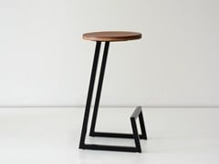 - Low solid wood stool with footrest CORKTOWN | Low stool - hollis+morris