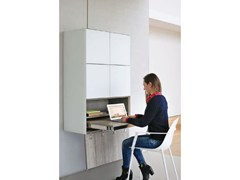 - Melamine-faced chipboard secretary desk / wall cabinet CUBE 40 SMART SOLUTIONS - Joli