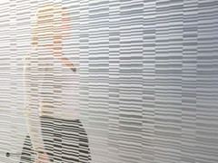 - Decorated glass partition wall DECORFLOU® DESIGN BARCODE - OmniDecor®