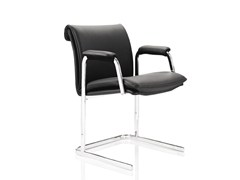 - Upholstered stackable leather chair with armrests DELPHI | Chair with armrests - Boss Design