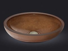 - Countertop oval resin washbasin DOLCE OVAL TEXTURE BRONZE - Vallvé Bathroom Boutique