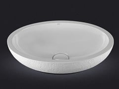 - Countertop oval resin washbasin DOLCE OVAL TEXTURE - Vallvé Bathroom Boutique