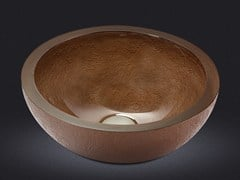 - Countertop round resin washbasin DOLCE ROUND TEXTURE BRONZE - Vallvé Bathroom Boutique