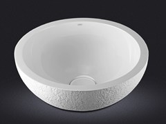 - Countertop round resin washbasin DOLCE ROUND TEXTURE - Vallvé Bathroom Boutique
