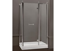 - Rectangular satin glass shower cabin with hinged door DORSET | Rectangular shower cabin - BATH&BATH
