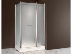 - Rectangular satin glass shower cabin with hinged door DORSET | Satin glass shower cabin - BATH&BATH