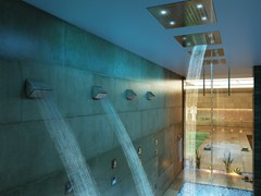 - LED 2-spray steel overhead shower Dream 2 Sprays - RGB CROMOTHERAPY - Bossini
