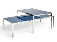 Tavolino basso in acciaio e vetroceramica da salottoELBOW | Tavolino in acciaio e vetro - CAUSSA