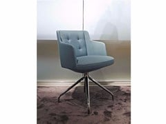 - Upholstered trestle-based fabric chair EMBRACE | Trestle-based chair - ESTEL GROUP