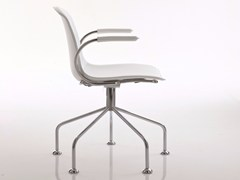 - Upholstered trestle-based leather chair with armrests EPOCA | Trestle-based chair - Luxy