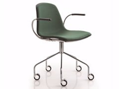 - Trestle-based chair with armrests with casters EPOCA | Trestle-based chair - Luxy