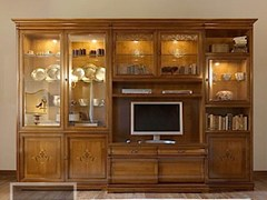 - Solid wood bookcase with built-in lights FENICE | TV wall system - Arvestyle